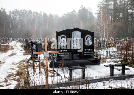 Cemetery of Slavutych, where most of the victims of the Chernobyl disaster are buried, mostly liquidators, who died - Stock Photo