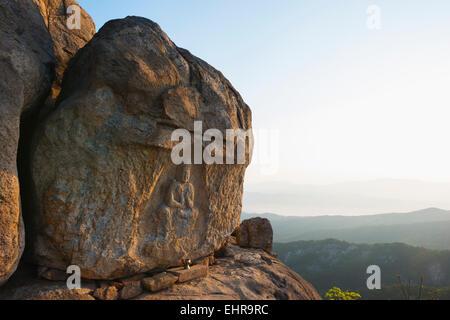 Asia, Republic of Korea, South Korea, Gyeongsangbuk-do, Gyeongju, Mt Namsan National Park, rock carved buddha image, - Stock Photo