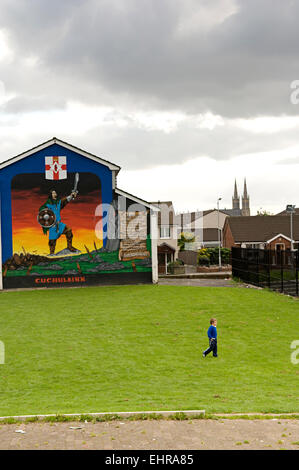 Cuchulainn - Mythical Irish hero. Loyalist Mural in East Belfast - Stock Photo