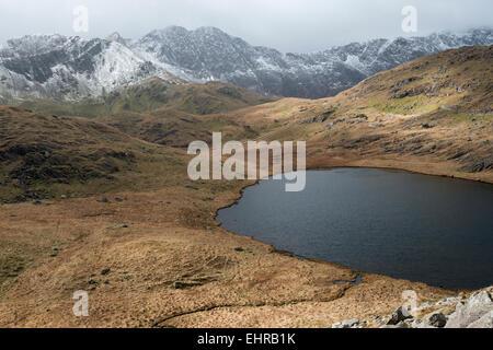Y Lliwedd and Snowdon Massif, Snowdonia National park, Wales, UK - Stock Photo