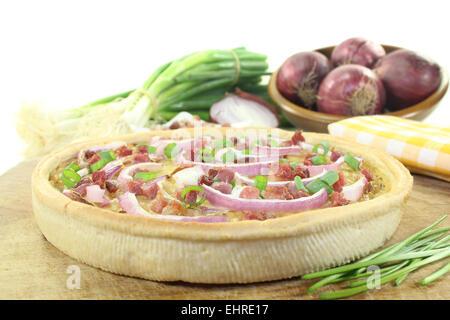 fresh onion tart - Stock Photo