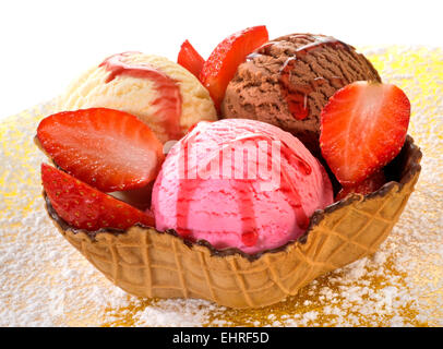 Mixed ice cream in wafer - Stock Photo