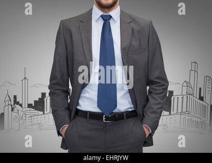 close up of businessman over gray background - Stock Photo