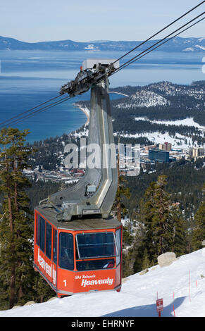 Heavenly Aerial Tram, Heavenly Ski resort with Lake Tahoe and South Lake Tahoe in the background - Stock Photo