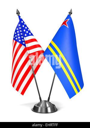 USA and Aruba - Miniature Flags. - Stock Photo