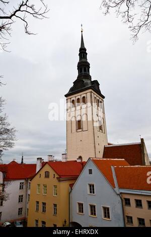 Saint Olaf Church in Old Tallinn, Estonia - Stock Photo