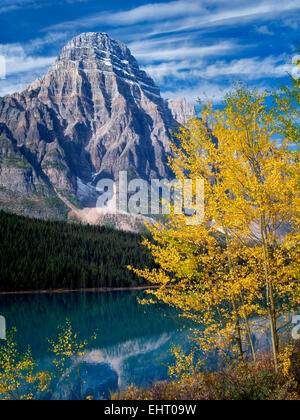 Waterfaowl Lakes and Mt. Chephren with fall colored aspens.  Banff National Park. Alberta, Canada - Stock Photo