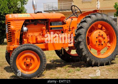 Agricultural exhibition of old tractors of the 50s and 60s. Agro Pontino valley, Central Italy. - Stock Photo