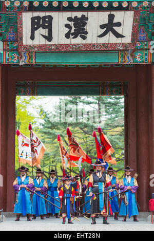 Asia, Republic of Korea, South Korea, Seoul, Deoksugung palace, changing of the guards ceremony - Stock Photo