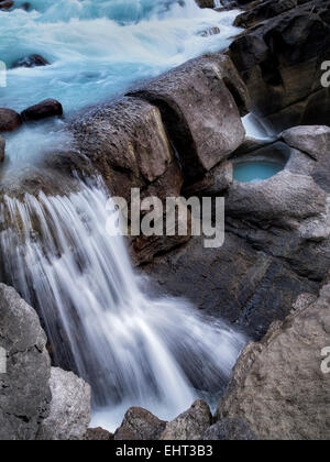 Lower Sunwapta Falls. Jasper National Park, Alberta, Canada - Stock Photo