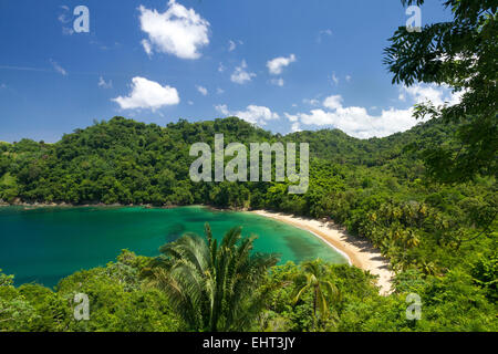 View of Parlatuvier Bay on the Island of Tobago West Indies - Stock Photo