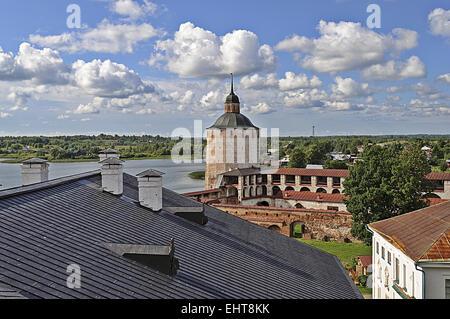 Top view of Kirillo-Belozersky monastery - Stock Photo