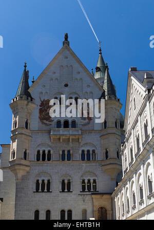 Courtyard of  Bavarian Neuschwanstein Castle - Stock Photo