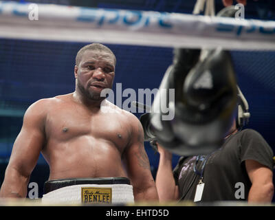 LUBIN, POLAND - MARCH 14, 2015: Gbenga Oluokun after professional boxing fight  in heavy weight  with Mariusz Wach. - Stock Photo