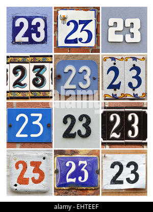 Number 23 - Collage of House Numbers Twenty-three - Stock Photo
