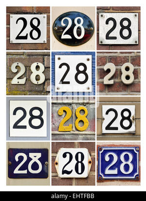 Number 28 - Collage of House Numbers Twenty-eight - Stock Photo