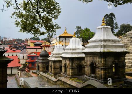 Pashupatinath temple and cremation ghats, Khatmandu - Stock Photo