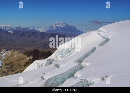Picturesque view from near top of Huayna Potosi mountain in Bolivia - Stock Photo