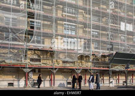 SCAFFOLDING, RESTORATION OF A BUILDING FACADE - Stock Photo