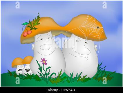 Cartoon mushrooms - Stock Photo