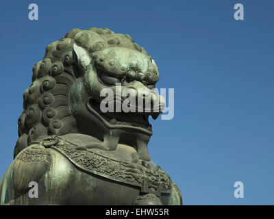 Male bronze lion, Gate of Supreme Harmony, Outer Court, Forbidden City, Beijing, China, Asia - Stock Photo