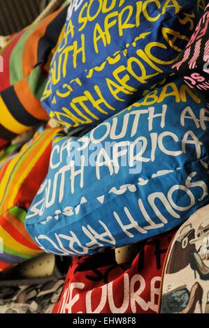 Durban, KwaZulu-Natal, South Africa, close-up, display of handbags, printed words, shopping,  tourist market, object - Stock Photo