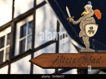 Sign Old Path in Meschede in Germany. - Stock Photo