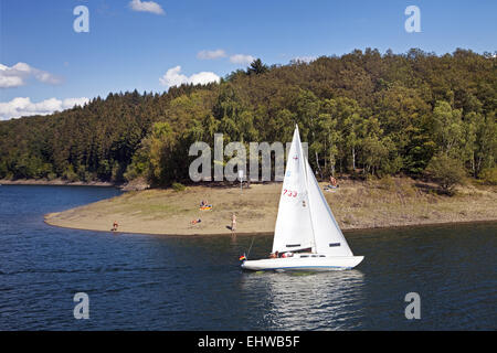 Sailboat on the Bigge in Germany. - Stock Photo