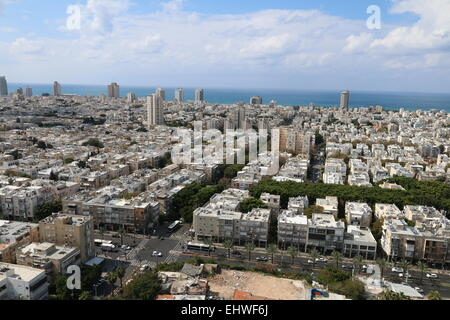 Aerial Photography of Tel Aviv, Israel looking from east towards the Mediterranean Sea in the west - Stock Photo
