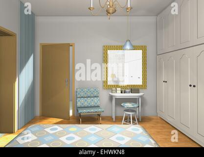Mix and match colors,shapes,materials in classic master bedroom - Stock Photo