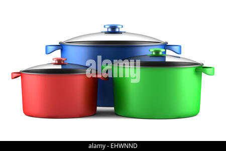 three color cooking pans isolated on white background - Stock Photo