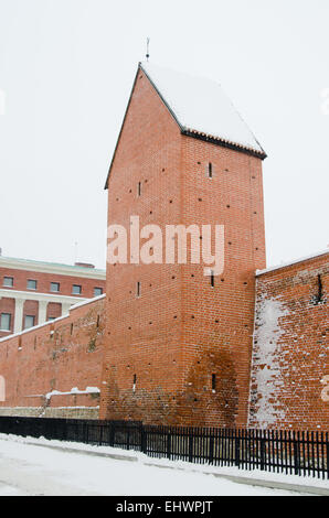 Fortress wall in Riga in snowy winter day - Stock Photo