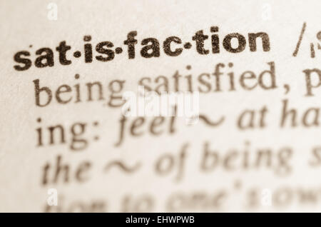 Definition Of Word Satisfaction In Dictionary   Stock Photo
