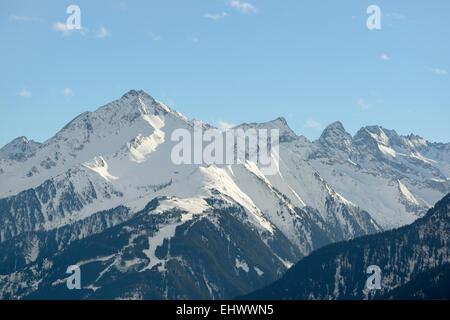 Summit Ahornspitze (left side), Mayrhofen, Zillertal, Tyrol, Austria - Stock Photo