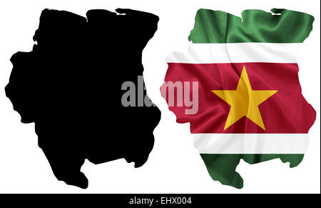 Suriname - Waving national flag on map contour with silk texture - Stock Photo