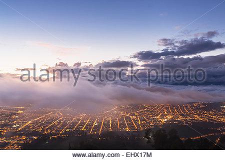 South America, Ecudador, Imbabura Province, Ibarra, blue hour and fog - Stock Photo