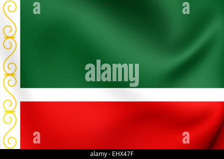 Flag of Chechen Republic, Russia. Close Up. - Stock Photo