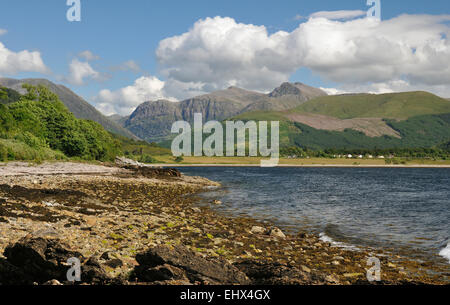 Loch Linnhe viewed from Onich Cliffs of Glen Coe behind Scotland - Stock Photo
