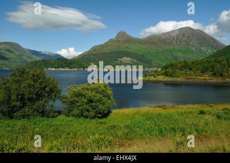 Loch Leven with Sgorr na ciche or Pap of Glencoe (center) & Sgorr nam Fiannaidh (right) - Stock Photo