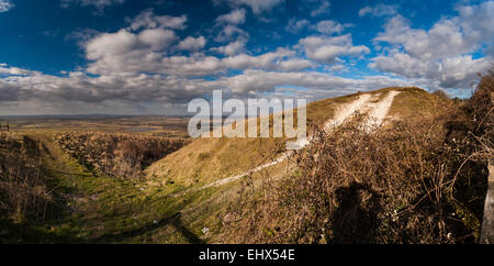 Rackham Banks Iron Age Cross Dyke near Amberley on the South Downs Way, West Sussex, UK - Stock Photo