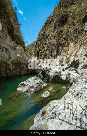 Water-worn rock in Somoto Canyon National Monument, uncovered in 2004 now an popular local attraction; Somoto, Madriz, - Stock Photo