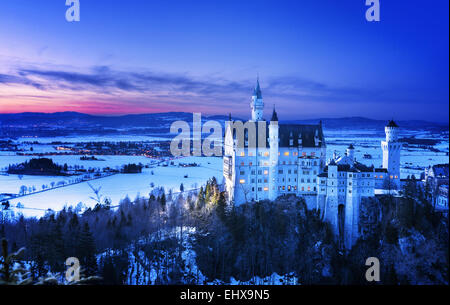 Neuschwanstein Castle near Fussen, Baviara, in Germany - Stock Photo