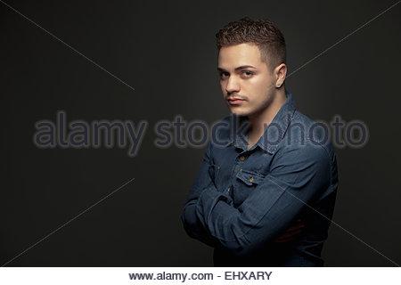Teenage boy teenager male portrait serious - Stock Photo