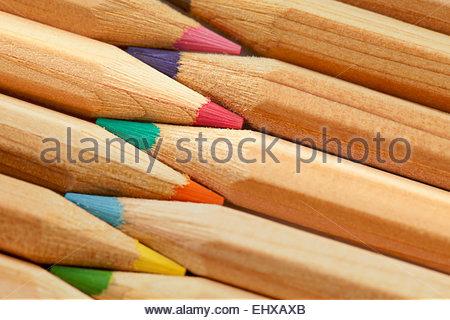 Colour pencils still life macro close up detail - Stock Photo