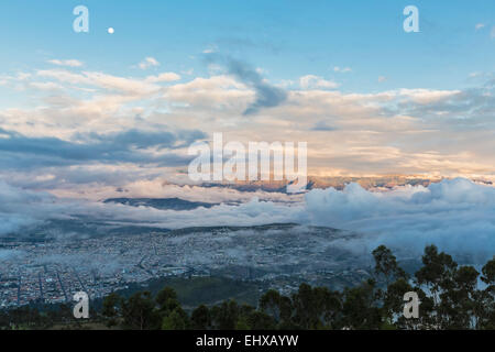 South America, Ecudador, Imbabura Province, View to Ibarra, fog in the morning light - Stock Photo