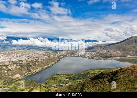 South America, Ecudador, Imbabura Province, Ibarra, View to Yahuarcocha Lake - Stock Photo
