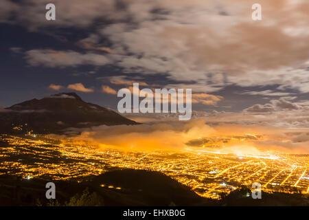South America, Ecudador, Imbabura Province, Ibarra, Imbabura Volcano, Blue hour and fog - Stock Photo