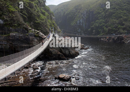 Suspension bridges over the mouth of storms river, Tsitsikamma National Park, South Africa