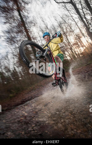 Mountain Biker rides on the rear wheel through a stream in the forest, Bavaria, Germany - Stock Photo