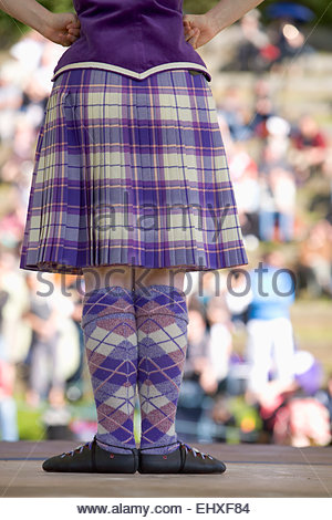 Highland dancing tartan girl kilt dancer Pitlochry - Stock Photo